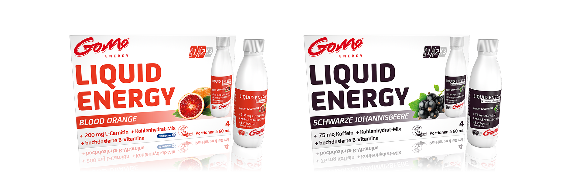 GoMo ENERGY Sports drink energy shot caffeine high doses vitamin b zinc magnesium L-CARNETIN